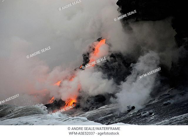 Molten Lava floats into Ocean, Volcanoes National Park, Kilauea, Big Island, Hawaii, USA