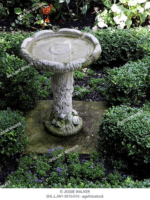 GARDEN: birdbath in center of boxwood hedge parterre