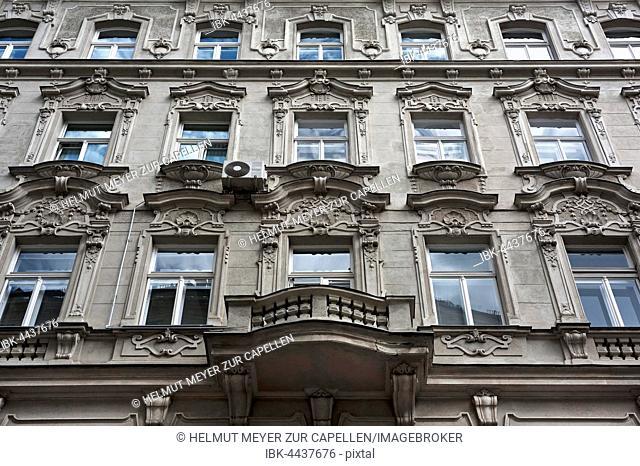 Facade with stucco, 19th century, Rabensteig, Vienna, Austria
