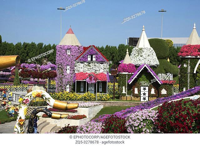 Replica of Disney Castle covered with flowers, Dubai Miracle Garden a flower garden, Dubailand, Dubai, United Arab Emirates