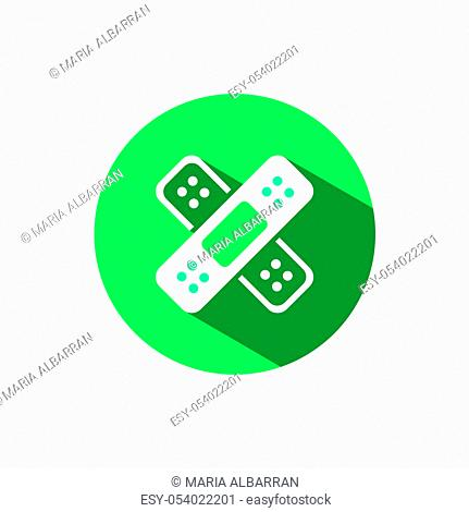 Adhesive bandage icon. Skin medical plaster with shadow on a green circle. Flat color vector pharmacy illustration