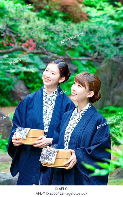 Young Japanese women wearing yukata at traditional onsen hot spring