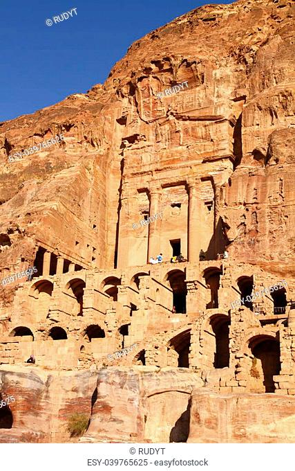 The abandoned city of Petra in Jordan in ancient times was the capital of the kingdom of the Nabateans