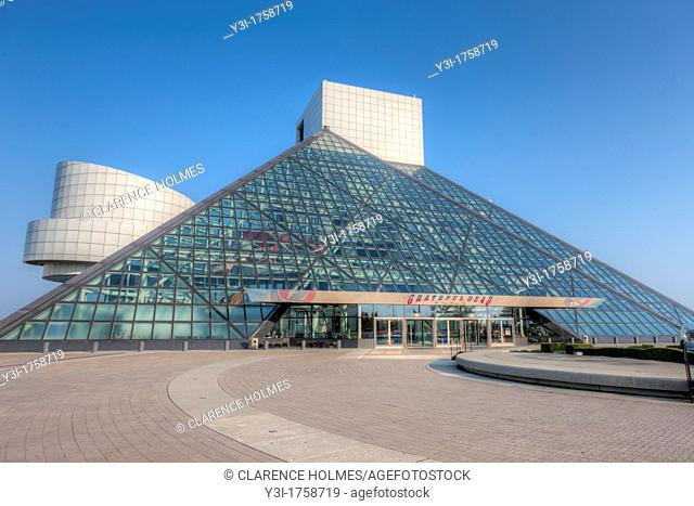 The Rock and Roll Hall of Fame, located in the birthplace of Rock and Roll, Cleveland, Ohio, USA