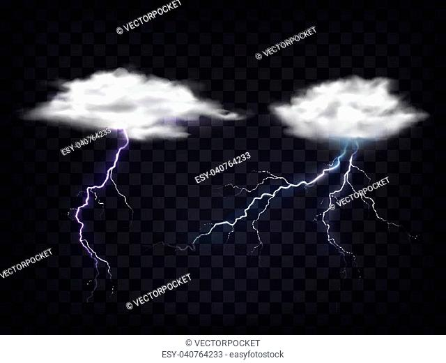 Set of vector illustrations of transparent white clouds with a charge of lightning in a realistic style. Template, element for design