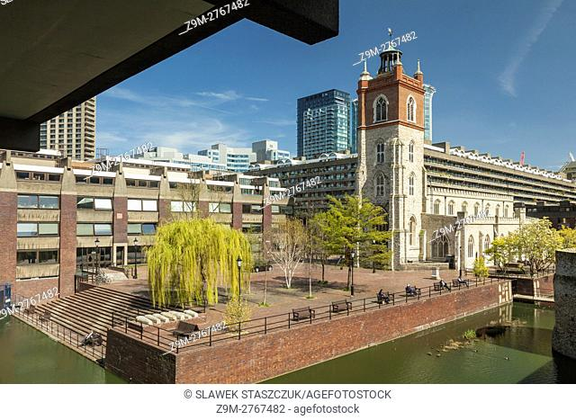 Sunny spring afternoon at Cripplegate in the Barbican, city of London, England