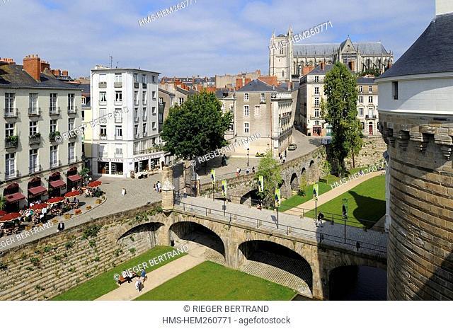 France, Loire Atlantique, Nantes, the Chateau des Ducs de Bretagne Dukes of Brittany Castle, the moats converted into open space
