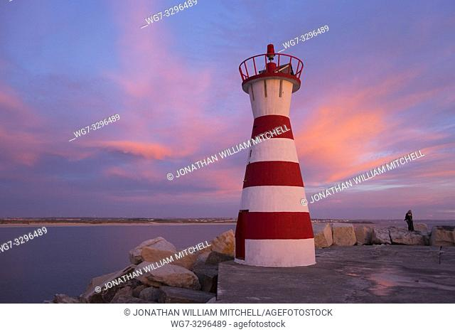 PENICHE, PORTUGAL - October 1: Landscape showing the navigation on the breakwater at Peniche, Estremadura, Portugal on October 1, 2016