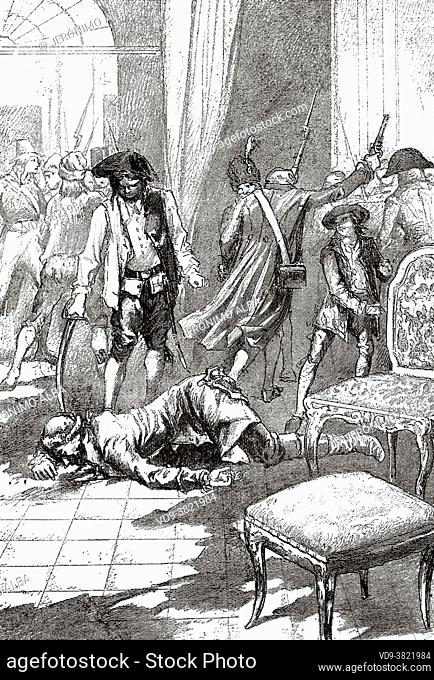 Maximilian de Robespierre (1758-1794) Wounded by a bullet. Politician, French deputy during the French revolution. France