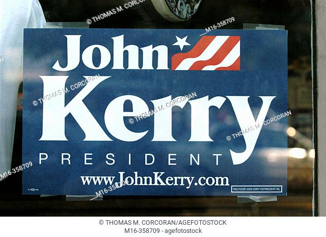 2004 presidential campaign: A John Kerry poster in the window of a Washington DC business