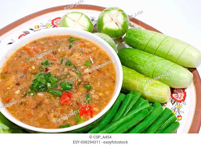 Thai food. Curry cooked vegetables