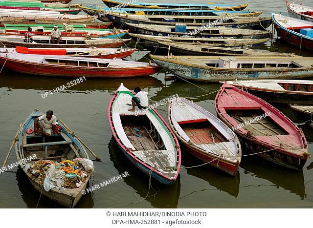 Boats in river ganga, varanasi, uttar pradesh, india, asia