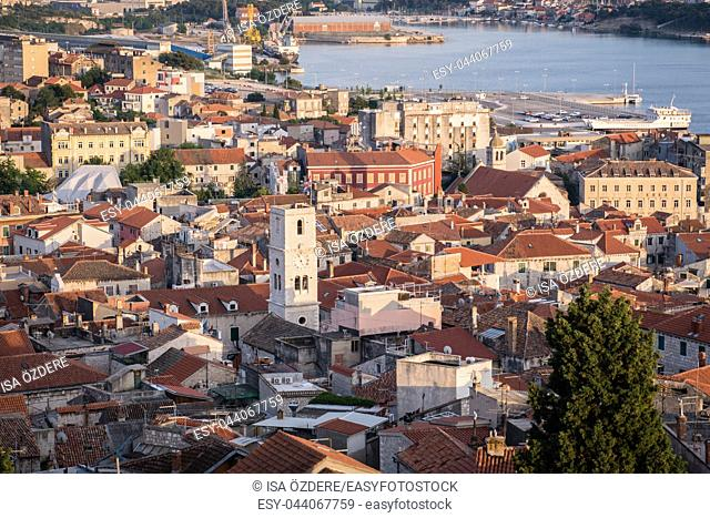 Aerial top day View of Sibenik town and its old houses in Sibenik,Croatia