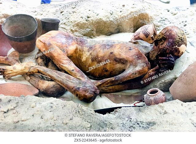 Typical Egyptian grave containing the naturally preserved body of a man from about 3400 BC