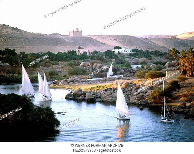 Feluccas on the Nile near the island of Philae. Country: Egypt. Credit Line: Werner Forman Archive. Location 32