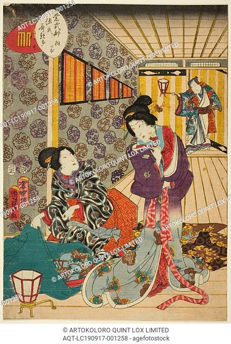 Kiritsubo, No. 1 from the series Murasaki Shikibu's Genji Cards (Murasaki Shikibu Genji karuta), 1857, Utagawa Kunisada II (Kunimasa III, Toyokuni IV), Japanese