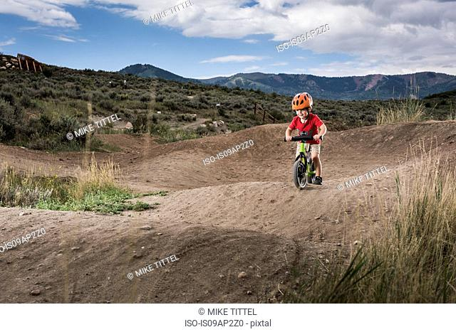 Toddler cycling, Trailside Bike Park, Park City, Utah, USA