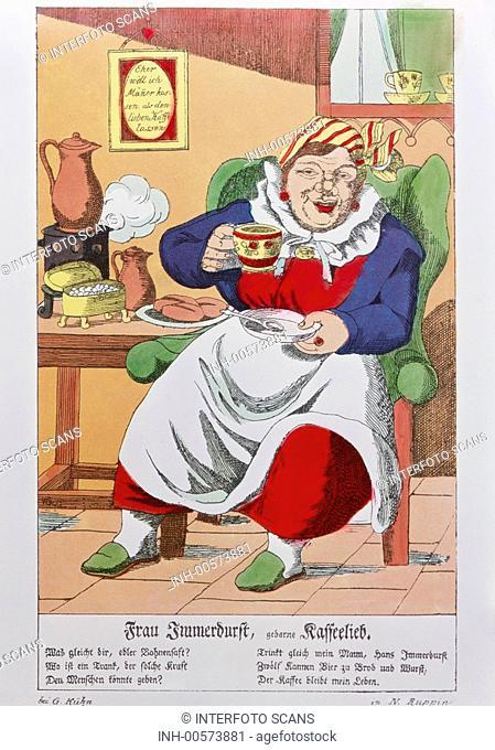 Kaffee, Karikatur, Bilderbogen, Frau Immerdurst geborene Kaffeelieb Deutschland 19  Jahrhundert, historisch, Kunst, Gastronomie