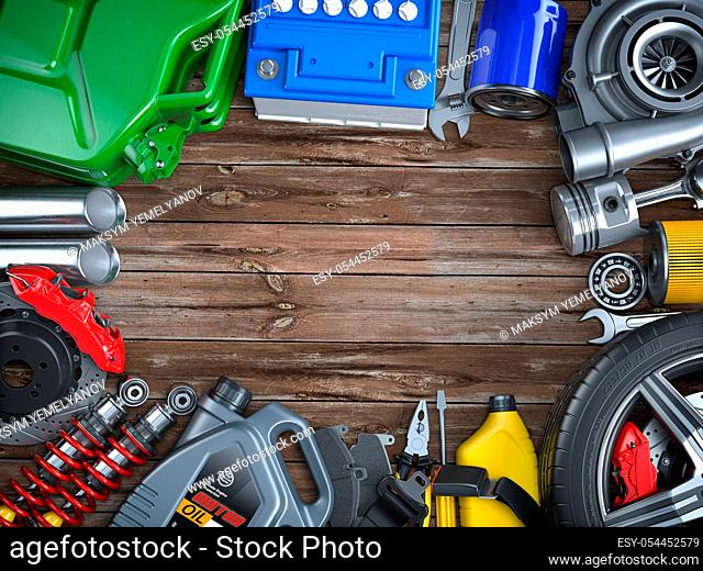 Car parts, spares and accesoires on wooden table. Auto service and car repair workshop concept. 3d illustration