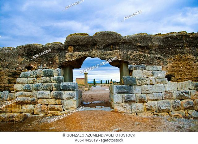 Main town gate 1st century BC, Roman city of Empuries, Baix Emporda, Girona province, Catalonia, Spain