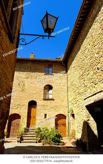 Pienza is a Medieval village in Tuscany Italy