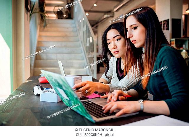 Young businesswomen using laptop at cafe table