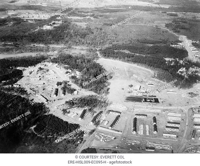 Aerial view of Greenbelt, Maryland, the first model community planned by New Deal's work and relief programs authorized by the Federal Emergency Relief Act
