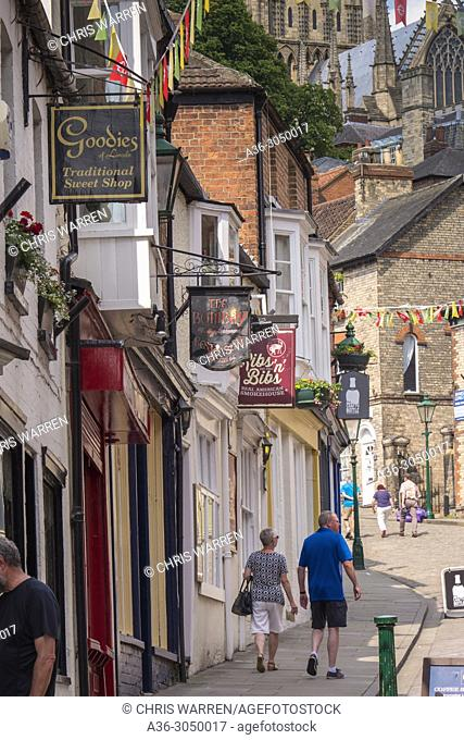 Lincoln Cathedral from Steep Hill Lincoln Lincolnshire England