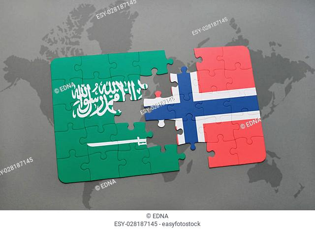 puzzle with the national flag of saudi arabia and norway on a world map background. 3D illustration