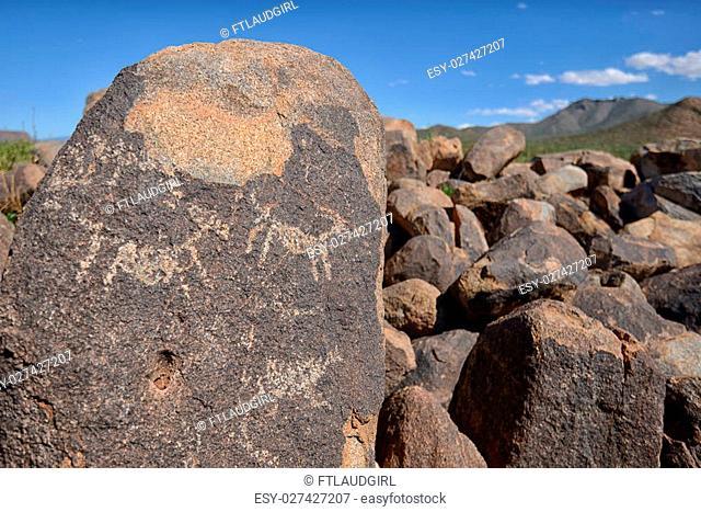 prehistoric petroglyphs on rocks in saguaro national forest