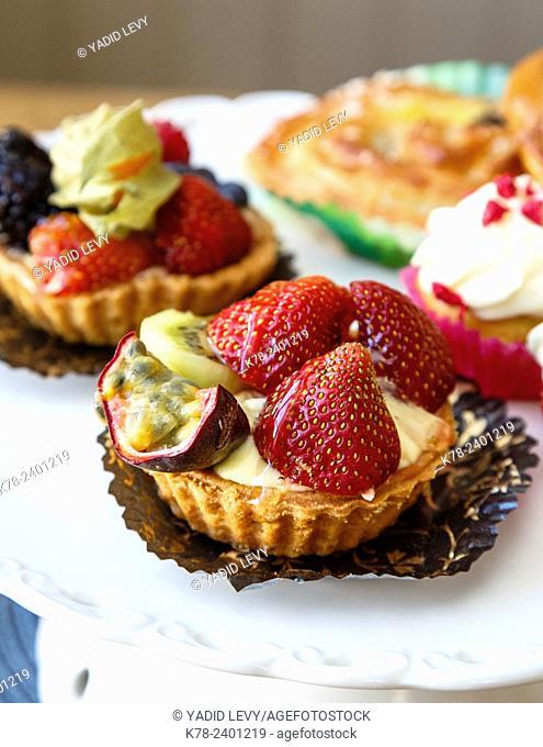 Cakes at Sjogrens i backen bakery at Grebbestad, bohuslan region, west coast, Sweden