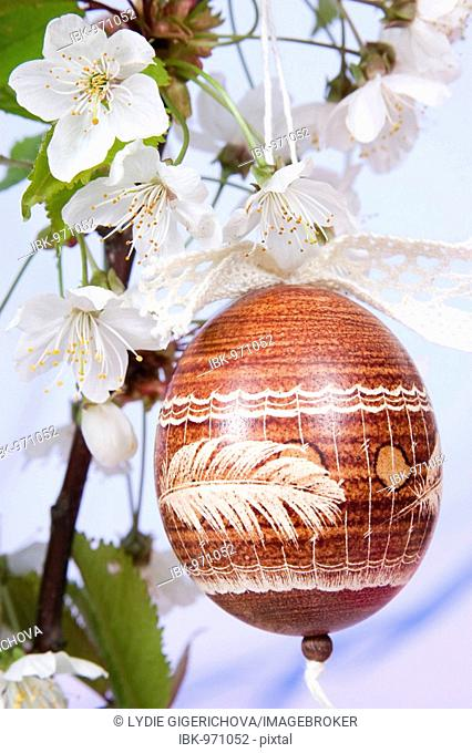 Easter egg with cherry blossoms