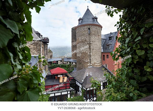 View of Schönburg Hotel. Shönburg, River Rhine, Rhineland Palatinate, Germany