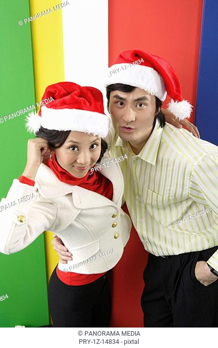 A portrait of young lovers in Christmas