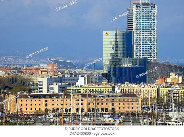Palau de Mar, Gas Natural Building, Hotel Arts and Torre Mapfre. Barcelona, Catalonia, Spain