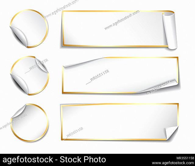 Set of white rectangular and round promotional paper stickers on white background. Vector illustration
