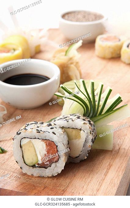 Close-up of sushi with soy sauce