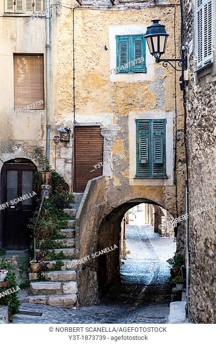 Europe, France, Alpes-Maritimes. Gorbio. An alley of the village