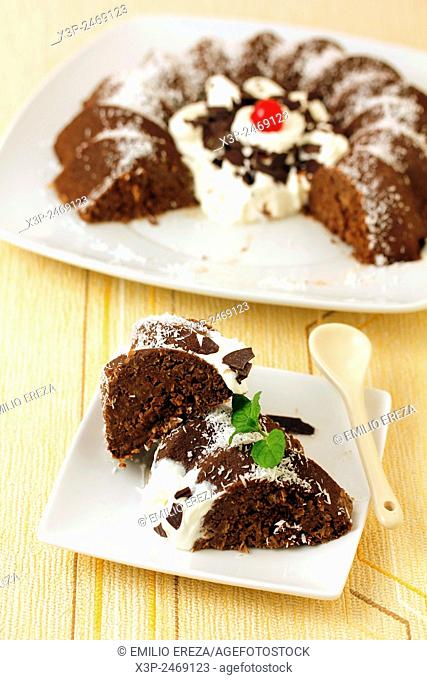 Coconut pudding with chocolate