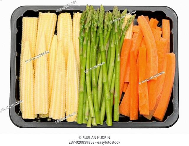 fresh vegetables in a plastic box