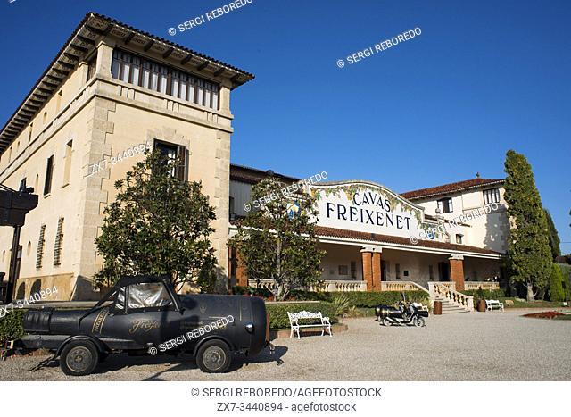 Cavas Freixenet winery. Sant Sadurni d'Anoia, San Sadurni de Noya. Winery building. Catalonia Spain