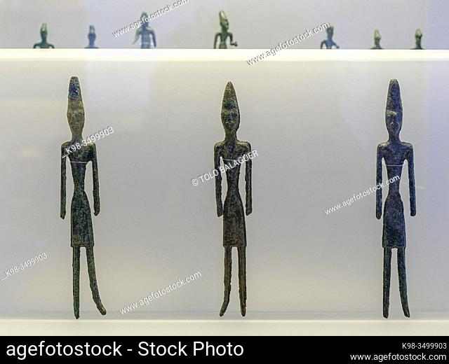 male statuettes, from Byblos, bronze, middle bronze Age, Beirut National Museum, The Coliseum , Rome, Lazio, Italy ,