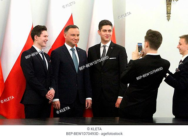 February 05, 2019 Warsaw, Poland. Oxford Style Debate with President Andrzej Duda. Pictured: President of the Republic of Poland Andrzej Duda