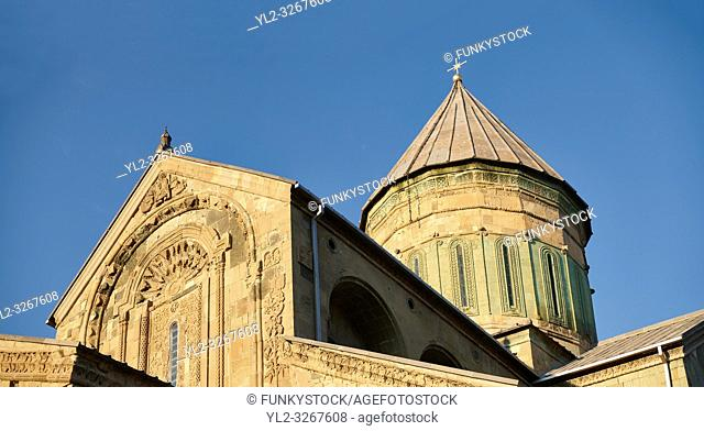 Close up picture & image of the exterior and cupola of the Eastern Orthodox Georgian Svetitskhoveli Cathedral (Cathedral of the Living Pillar) , Mtskheta