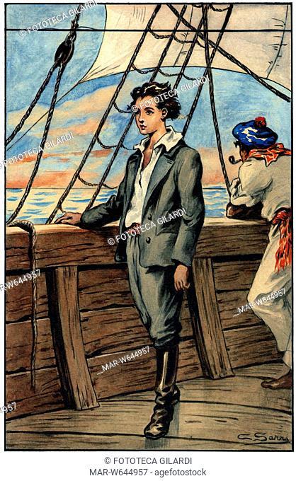 Jules VERNE (1828-1905) Dick Sand il capitano di quindici anni. Illustrazione di Corrado Sarri per 'Un Capitano di quindici anni' (1878)