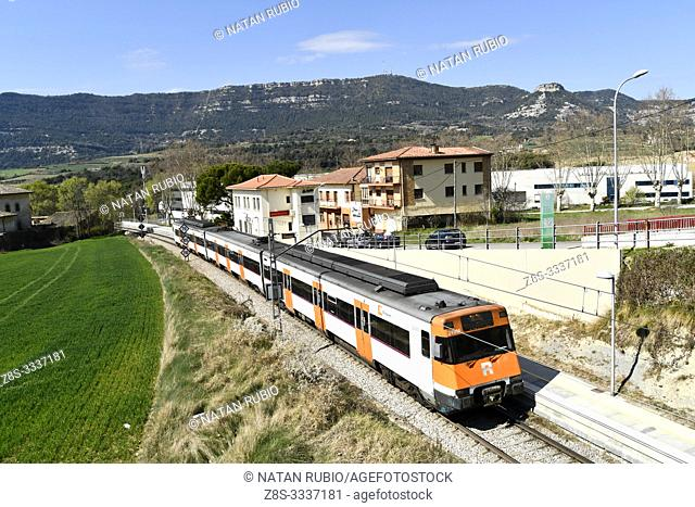 Commuter train, Balenya, Catalonia, Spain