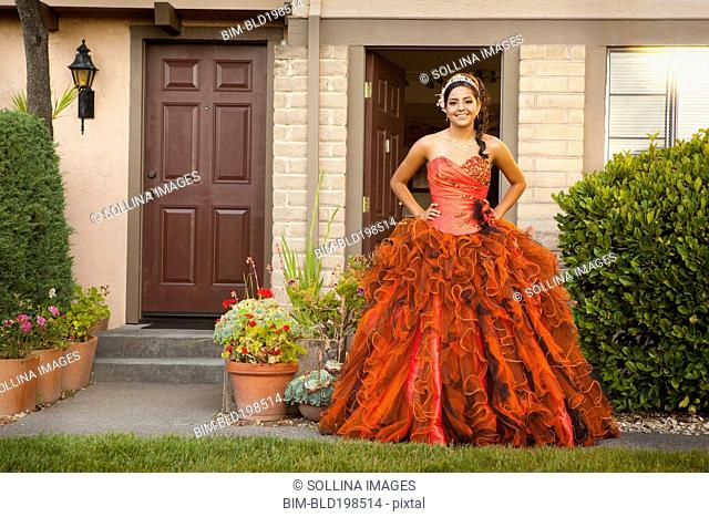 Hispanic teenager dressed for quinceanera