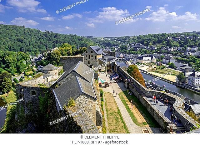 Aerial view over the Château de Bouillon Castle, the city center and the Semois river, Luxembourg Province, Belgian Ardennes, Belgium