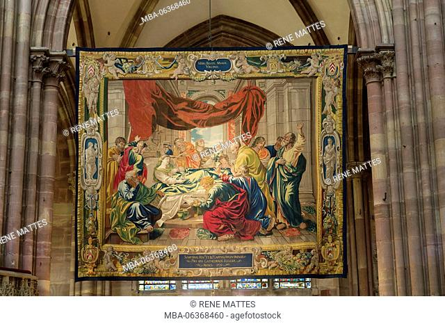 France, Bas Rhin, Strasbourg, old town listed as World Heritage by UNESCO, Notre Dame Cathedral, the Tapestries of the Life of the Virgin exposed every December...