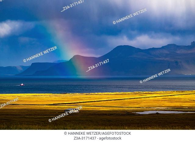 Rainbow in the nature of Snaefellsnes peninsula, Iceland